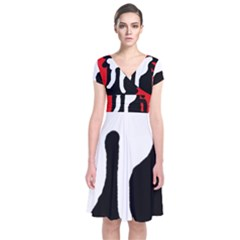 Red, black and white Short Sleeve Front Wrap Dress