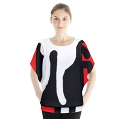 Red, black and white Blouse