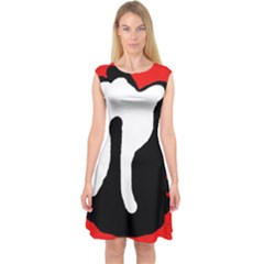 Red, black and white Capsleeve Midi Dress