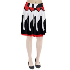 Red, black and white Pleated Skirt
