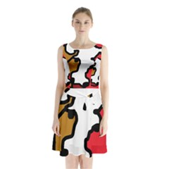 Artistic cow Sleeveless Waist Tie Dress
