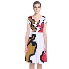 Artistic cow Short Sleeve Front Wrap Dress