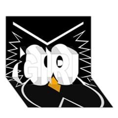 Black owl GIRL 3D Greeting Card (7x5)