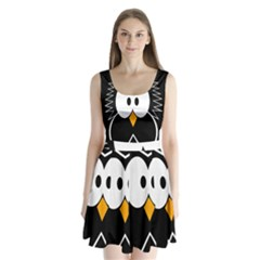 Black owl Split Back Mini Dress