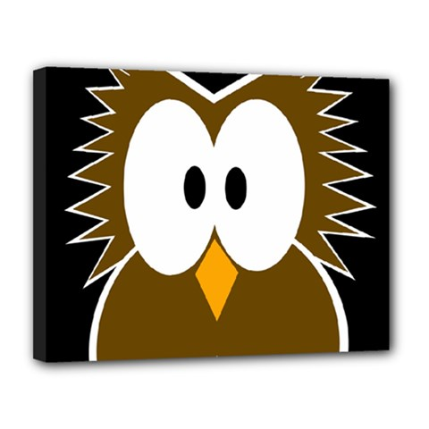 Brown simple owl Canvas 14  x 11