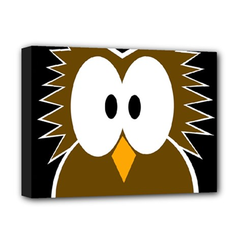 Brown simple owl Deluxe Canvas 16  x 12