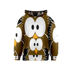 Brown simple owl Kids  Pullover Hoodie