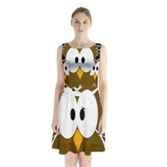 Brown simple owl Sleeveless Waist Tie Dress