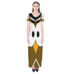 Brown simple owl Short Sleeve Maxi Dress