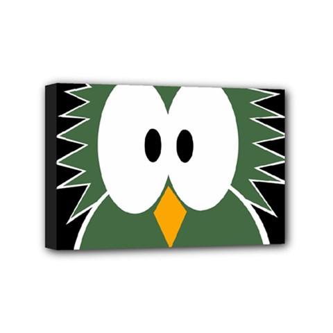 Green owl Mini Canvas 6  x 4