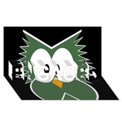 Green owl ENGAGED 3D Greeting Card (8x4)
