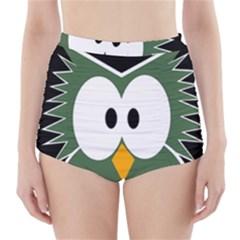 Green owl High-Waisted Bikini Bottoms