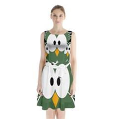Green owl Sleeveless Waist Tie Dress