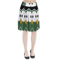 Green owl Pleated Skirt