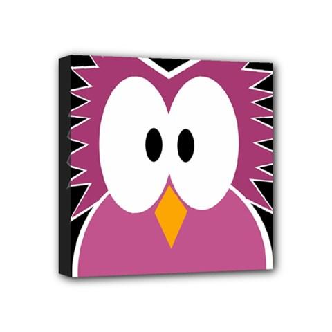 Pink owl Mini Canvas 4  x 4