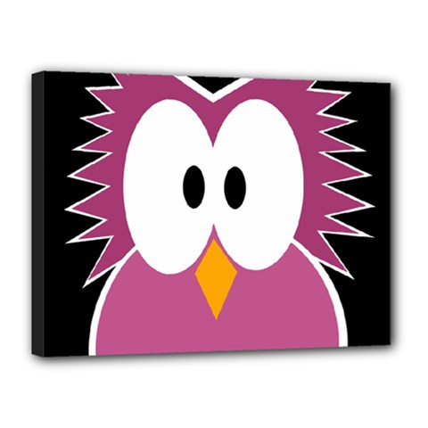 Pink owl Canvas 16  x 12