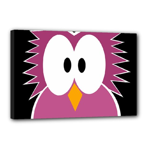 Pink owl Canvas 18  x 12