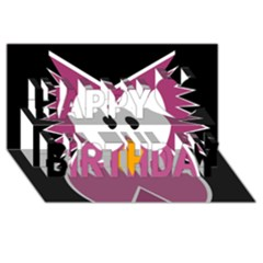 Pink owl Happy Birthday 3D Greeting Card (8x4)