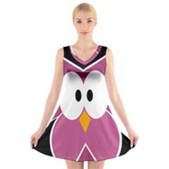 Pink owl V-Neck Sleeveless Skater Dress