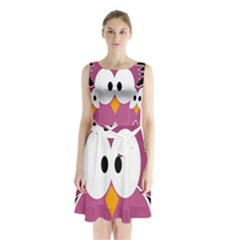 Pink Owl Sleeveless Waist Tie Dress