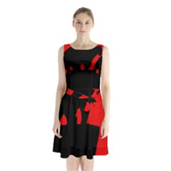 Bear Sleeveless Waist Tie Dress