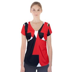 Kiss Short Sleeve Front Detail Top