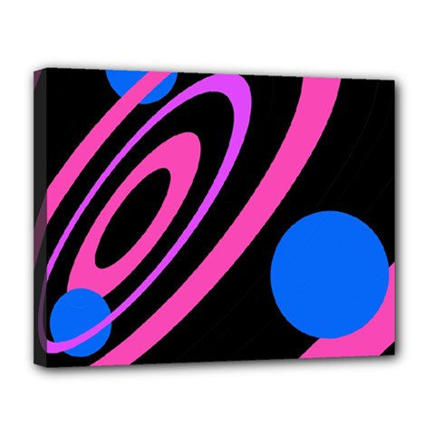 Pink and blue twist Canvas 14  x 11