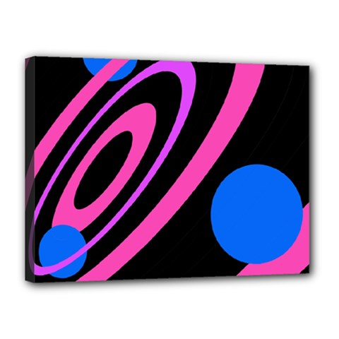 Pink and blue twist Canvas 16  x 12