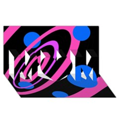 Pink and blue twist MOM 3D Greeting Card (8x4)