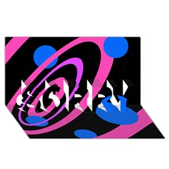Pink and blue twist SORRY 3D Greeting Card (8x4)
