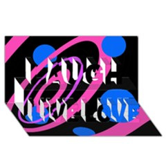 Pink and blue twist Laugh Live Love 3D Greeting Card (8x4)