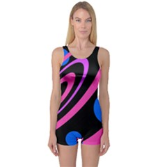 Pink and blue twist One Piece Boyleg Swimsuit
