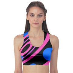 Pink and blue twist Sports Bra