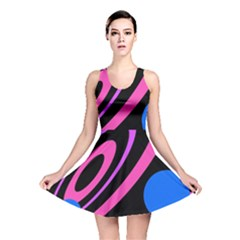 Pink and blue twist Reversible Skater Dress