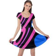 Pink and blue twist Cap Sleeve Dresses