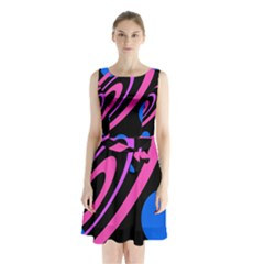 Pink And Blue Twist Sleeveless Waist Tie Dress