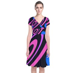 Pink And Blue Twist Short Sleeve Front Wrap Dress
