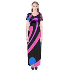 Pink and blue twist Short Sleeve Maxi Dress