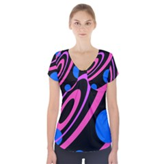 Pink and blue twist Short Sleeve Front Detail Top