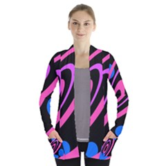 Pink And Blue Twist Women s Open Front Pockets Cardigan(p194)