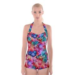 Rainbow Ocean  Boyleg Halter Swimsuit