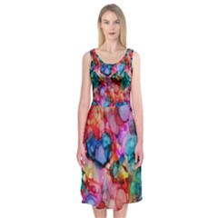 Rainbow Ocean  Midi Sleeveless Dress