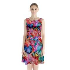 Rainbow Ocean  Sleeveless Waist Tie Dress
