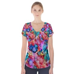 Rainbow Ocean  Short Sleeve Front Detail Top