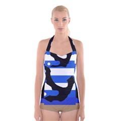 Anchor Boyleg Halter Swimsuit