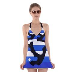 Anchor Halter Swimsuit Dress