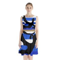 Anchor Sleeveless Waist Tie Dress