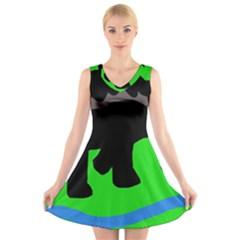Elephand V-Neck Sleeveless Skater Dress