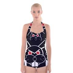 Evil rabbit Boyleg Halter Swimsuit