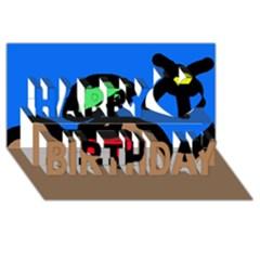 Beach Happy Birthday 3D Greeting Card (8x4)